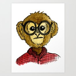 The Monkey with the Round Glasses Art Print