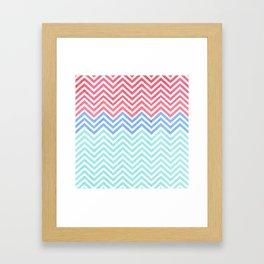 Chevron Blue and Red vintage Framed Art Print