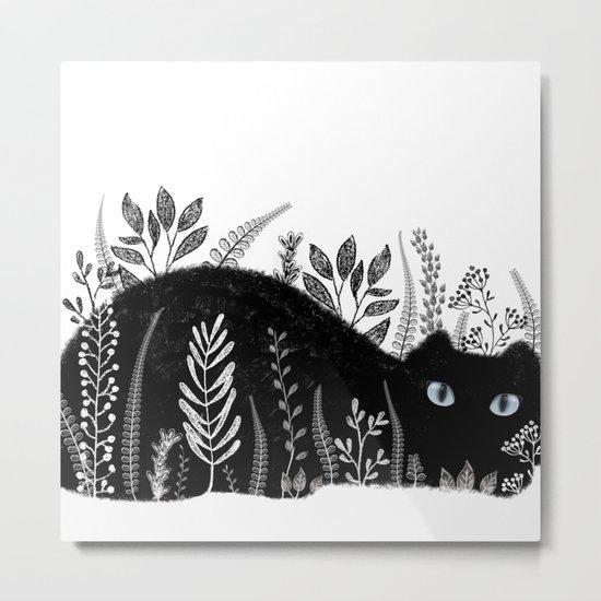 Garden Cat Black And White Metal Print