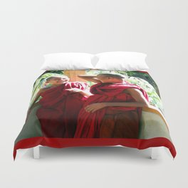 Laughter at th Monastey, Myanmar Duvet Cover