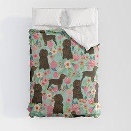 Boykin Spaniel custom dog breed floral pattern print by pet friendly dog art pet portraits Comforters