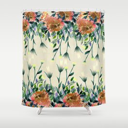 Orange Floral Shower Curtain. Hand painted modern ivory orange brown watercolor floral Shower Curtain Orange Floral Curtains  Society6