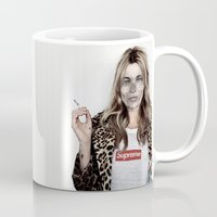 kate moss Mugs featuring Hell Moss by Katieb1013
