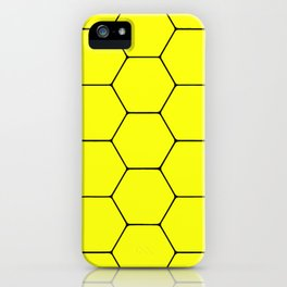 Beehive - Black and yellow hexagon, beehive, honeycomb pattern iPhone Case