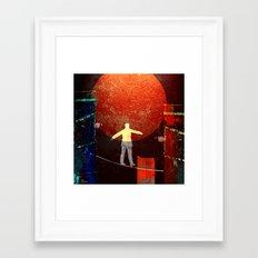 Tightrope walker in the city Framed Art Print