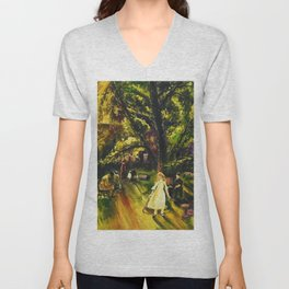 Sunday in Gramercy Park, NYC landscape painting by George Wesley Bellows Unisex V-Neck