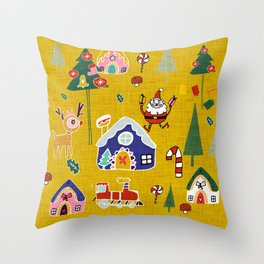 Santa Claus Yellow #Christmas #Holiday Throw Pillow