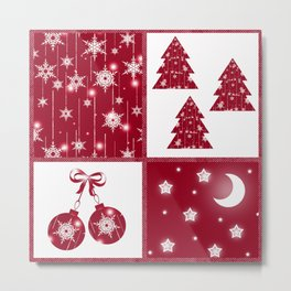 Bright red and white Christmas background Metal Print