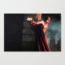 The Caped Crusader Swings Through Gotham Canvas Print