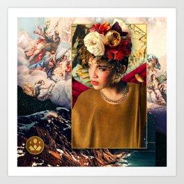 Autumn Floral Disco Ball Headpiece Art Print