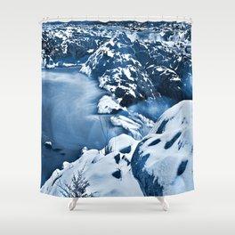 Great Winter Falls - Bokeh Blue Shower Curtain