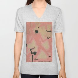 African American Masterpiece 'Untitled - Nightclub Scene  by Aaron Douglas Unisex V-Neck