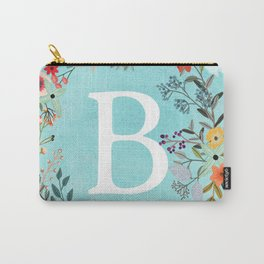 Personalized Monogram Initial Letter B Blue Watercolor Flower Wreath Artwork Carry-All Pouch
