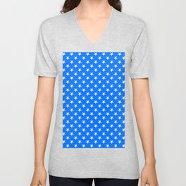 White on Brandeis Blue Stars Unisex V-Neck