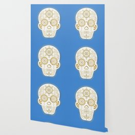 Día de Muertos • Mexican Sugar Skull – Blue & Gold Palette Wallpaper