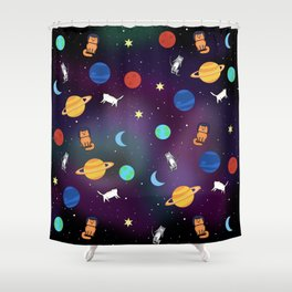 """""""Cats from outer space!"""" Galaxy Print Shower Curtain"""