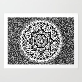Yin Yang Mandala Pattern Art Print