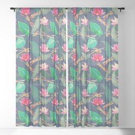 Lotus Flowers and Dragonflies Sheer Curtain