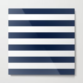Marinière Nautical Navy Blue and White Mariniere Stripes  Metal Print