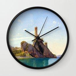 Fritz Petzholdt View of Malcesine at Lake Garda Wall Clock