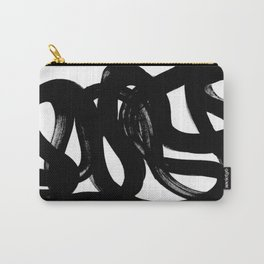 Swirl Black & White Minimalist Abstract Mid century Ink Art Dark Brush Strokes Carry-All Pouch