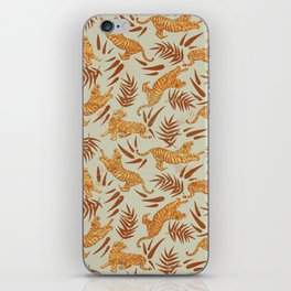 Vintage Golden Tigers Pattern / Big Cats, Leaves, Nature iPhone Skin