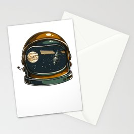 Astronaut Helmet Planet Space Satellite Gift Stationery Cards