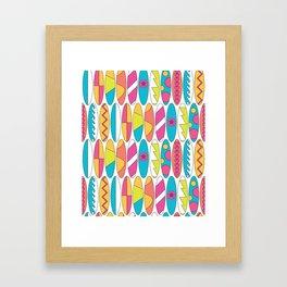 Mini Rainbow Colored Waikiki Surfboards Framed Art Print