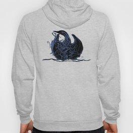 Swan 1. Light blue on Black background-(Red eyes series) Hoody