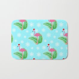 Flamingo at winter with snowflakes Bath Mat