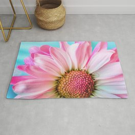 Beautiful Pink Flower Macro, Turquoise Blue Backdrop Rug