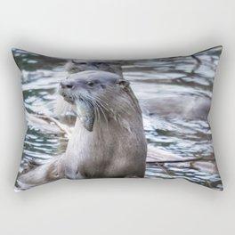 Otters Having Breakfast on the River Rectangular Pillow