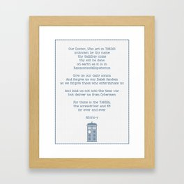 Timelord Prayer inspired by Doctor Who Framed Art Print