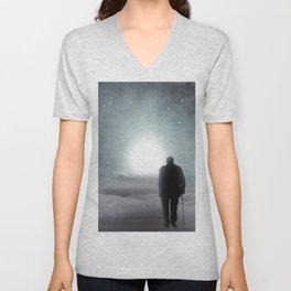 Old Man Walking Towards Heaven Unisex V-Neck