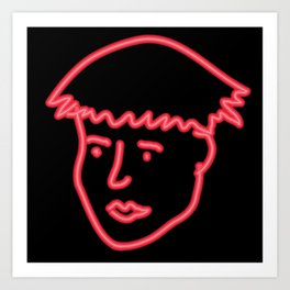 Boy in neon Art Print