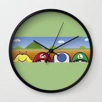 mario bros Wall Clocks featuring Mario Bros by Bazingfy