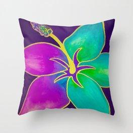 Hibiscus Gold Throw Pillow