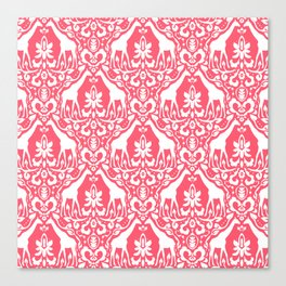 Giraffe Damask Coral Canvas Print