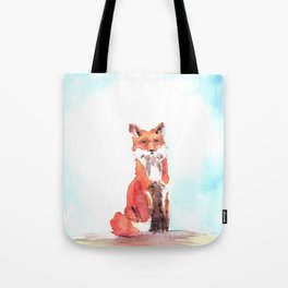 red fox in watercolor Tote Bag