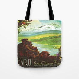 Earth Retro Space Poster Tote Bag