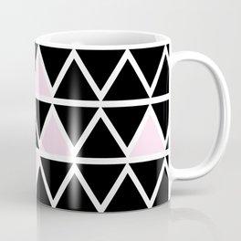 Abstract geometric triangle pattern- pink-black Coffee Mug