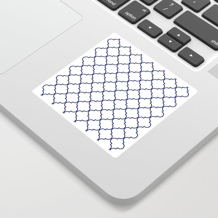 quatrefoil - navy Sticker