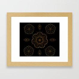 Neutral old gold mandala art floral pattern design Framed Art Print