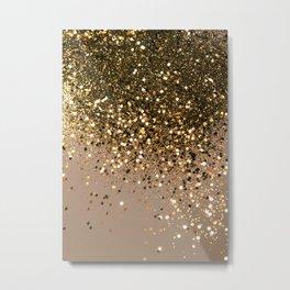 Sparkling Gold Brown Glitter Glam #1 (Faux Glitter) #shiny #decor #art #society6 Metal Print