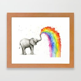 Rainbow Baby Elephant Framed Art Print