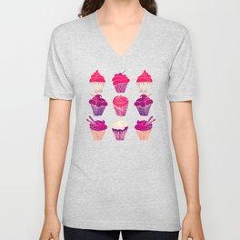 Cupcakes – Fuchsia Palette Unisex V-Neck