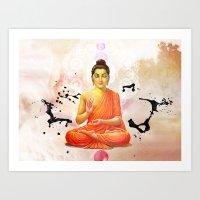 buddha Art Prints featuring Buddha by O. Be