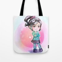 wreck it ralph Tote Bags featuring Vanellope - Wreck-it Ralph by Claire