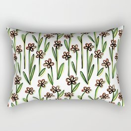 Five Leaves Flowers - Creative Floral Pattern Rectangular Pillow