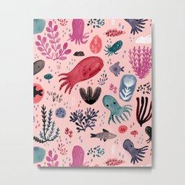 Cephalopod Swim Metal Print